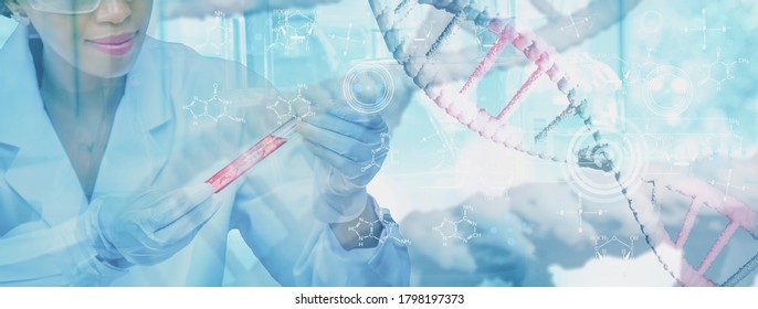 Doctor or scientist holding test tube analysis DNA structure molecule chain,medical and genetics,3d render,illustration,science biotechnology human cell in laboratory of biochemistry