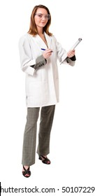 Doctor Scientist with Lab Coat and Clipboard on White