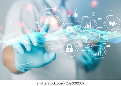 doctor or scientist Shows the linkage of research data through future medical technology cloud storage. cloud technology concept