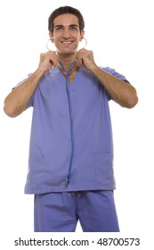 Doctor in scrubs and stethoscope