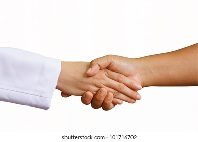 doctor shakes hands with a woman patient with isolated white background