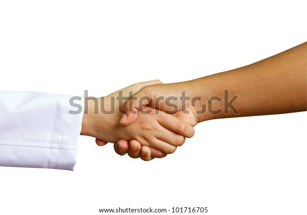doctor shakes hands with a woman patient with isolate background