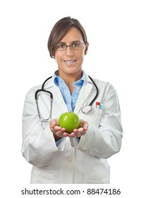 Doctor Showing an apple with both hands as a perfect healthy eating example