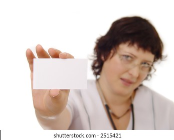 Doctor showing blank card. Isolated on white.