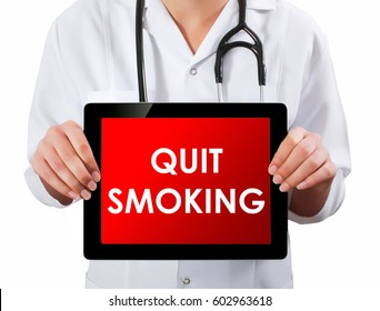 Doctor showing digital tablet screen.Quit Smoking