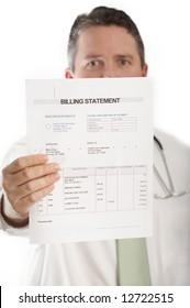 Doctor showing medical billing statement, DOF focus on bill