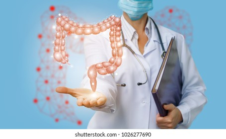 Doctor shows colon on a blue background.