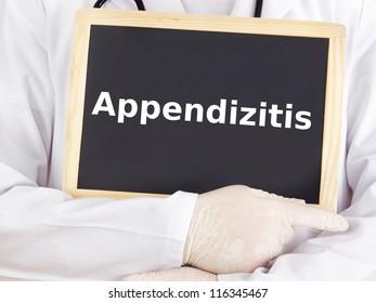 Doctor shows information: appendicitis