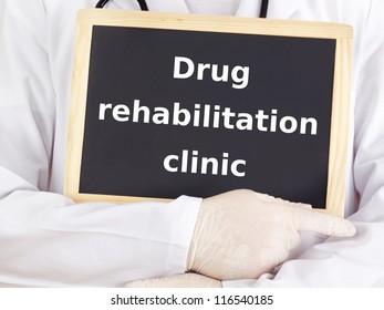 Doctor shows information: drug rehabilitation clinic