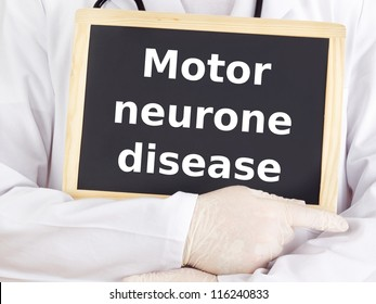 Doctor shows information: motor neurone disease
