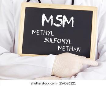 Doctor shows information: MSM in german language