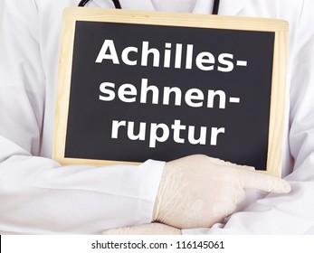 Doctor shows information on blackboard: achilles tendon rupture