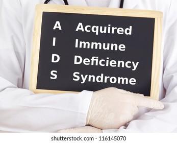 Doctor shows information on blackboard: aids