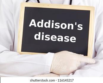 Doctor shows information on blackboard: addison`s disease