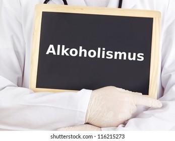 Doctor shows information on blackboard: alcoholism