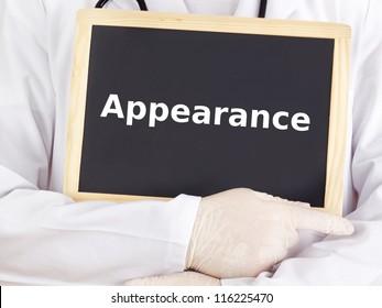 Doctor shows information on blackboard: appearance
