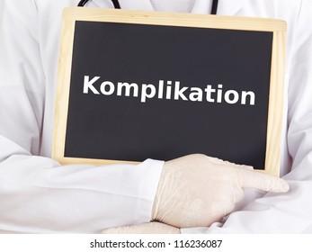 Doctor shows information on blackboard: complication