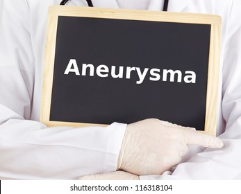 Doctor shows information on blackboard: aneurysm
