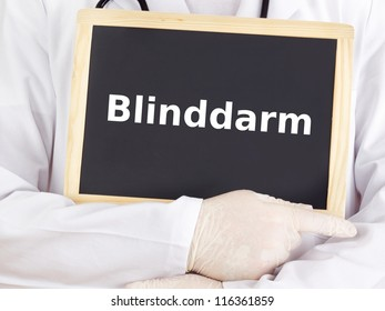 Doctor shows information on blackboard: cecum