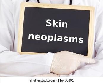 Doctor shows information on blackboard: skin neoplasms