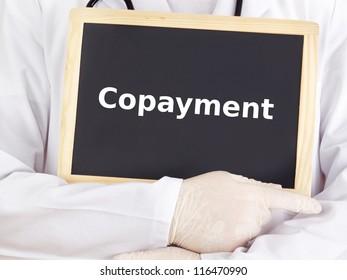 Doctor shows information on blackboard: copayment