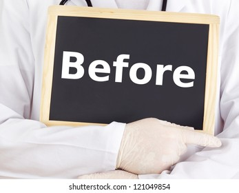Doctor shows information on blackboard: before