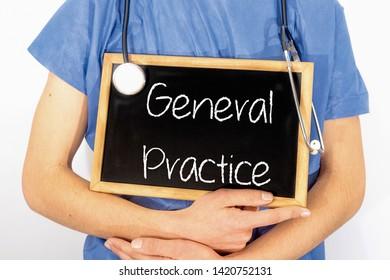 Doctor shows information on blackboard: general practice.  Medical concept.