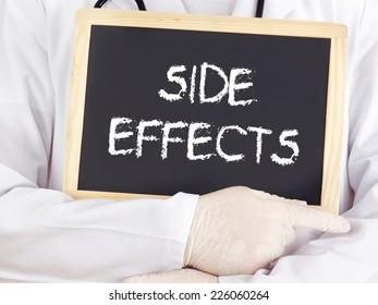 Doctor shows information on blackboard: side effects