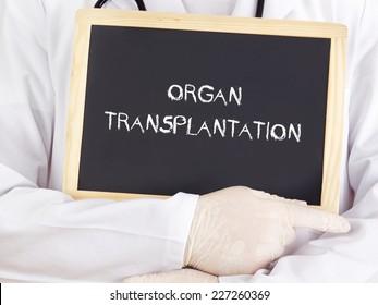 Doctor shows information: organ transplantation