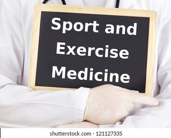 Doctor shows information: sport and exercise medicine