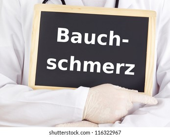 Doctor shows information: stomach ache