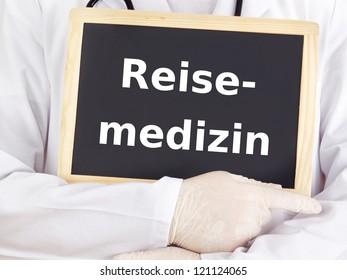 Doctor shows information: travel medicine