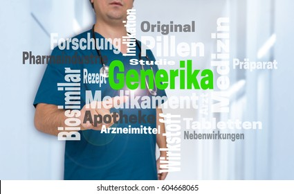 Doctor shows on viewer with Generika (in german alternative medicine) wordcloud concept.