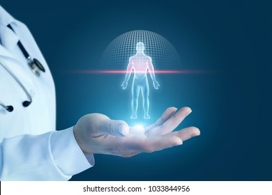 Doctor shows the process of scanning a patient on a blue background.