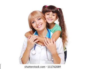 Doctor and a smiling  girl patient