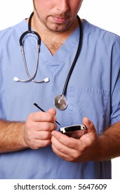 Doctor with stethoscope and blue scrubs over white with PDA