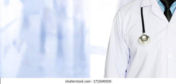 A doctor with stethoscope with copy space medical concept on blure background