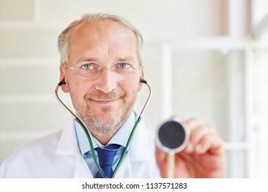 Doctor with stethoscope for diagnose and examination