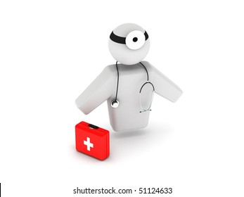 Doctor with stethoscope and first aid kit isolated on white background. High quality 3d render.