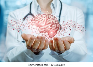 A doctor with a stethoscope is holding bright brains with wireless connections around at the hospital room background.