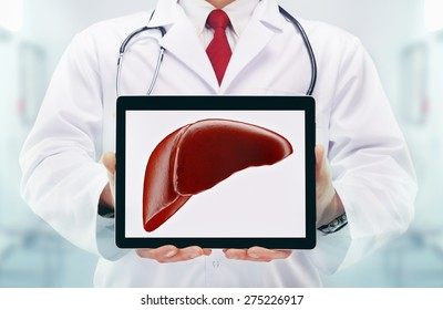 Doctor with stethoscope in a hospital. Liver on the tablet. High resolution.