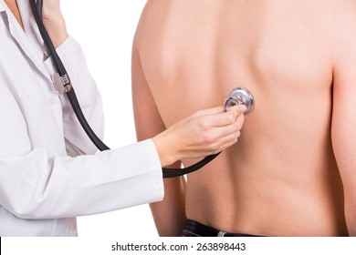 Doctor with stethoscope listen healthy  patient. Isolated
