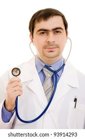 Doctor with stethoscope on white background.