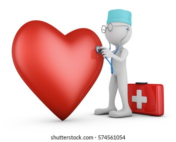 doctor with a stethoscope and a red heart. 3d rendering.