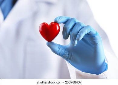 Doctor with stethoscope and small heart in hand on white background
