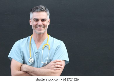 Doctor with stethoscope smiling portrait isolated