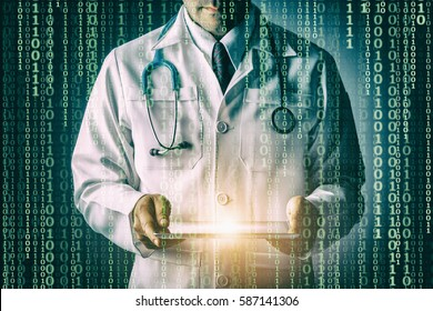 Doctor with stethoscope and tablet computer on black background, still life style, Technology binary code to treat patients concept.