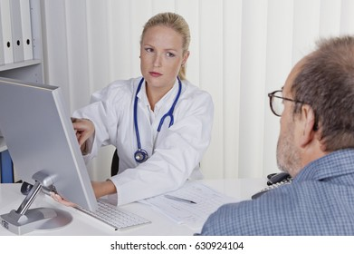 doctor with stethoscope talking with patient