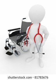 Doctor with stethoscope and  whellchair on white isolated background. 3d