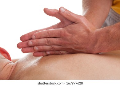 Doctor is stretching woman leg on physiotherapy session